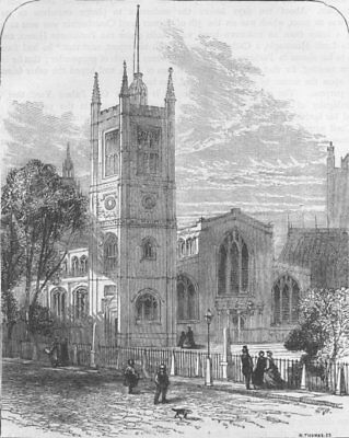 WESTMINSTER. St. Margaret's church, from the North-West. London c1880 print