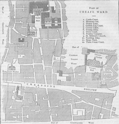 CHEAPSIDE. Old map of the Ward of Cheap, about 1750. London c1880