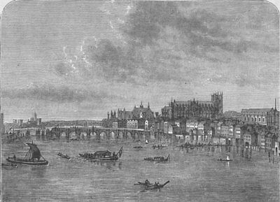 WHITEHALL. Westminster Bridge (from Canaletti's view). London c1880 old print