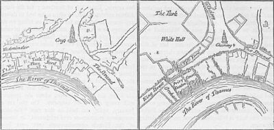 WHITEHALL. York Place & Whitehall in the reign of Henry VIII. London c1880 map