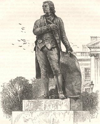 WASHINGTON. Statue of Jefferson, White House  c1880 old antique print picture