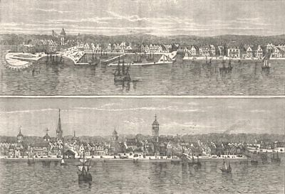 NEW YORK. Mid 18th century  c1880 old antique vintage print picture