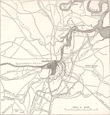 VIRGINIA. Petersburg; Confederate, Federal Forts c1880 old antique map chart
