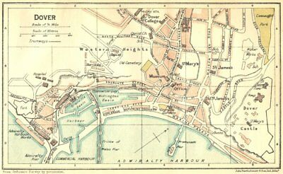 KENT. Dover Town Plan 1924 old vintage map chart