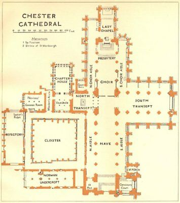 CHESHIRE. Chester cathedral 1924 old vintage map plan chart
