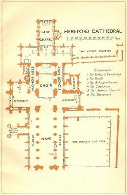 HEREFORD. Cathedral 1924 old vintage map plan chart