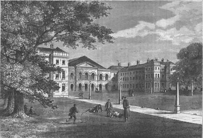 EUSTON SQUARE. Front of the Foundling Hospital. London c1880 old antique print