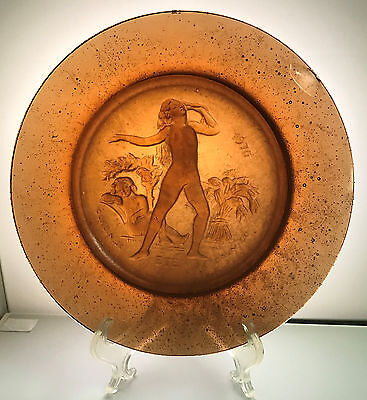 RARE DAUM AND NANCY 1970 PATE DE VERRE ETE PLATE 10.5 inches four seasons SPRING