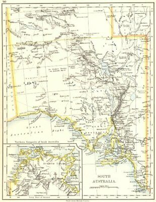SOUTH AUSTRALIA.Explorer route Sturt Giles Elder Forrest Eyre Tictkins 1899 map