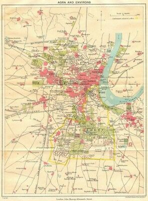 BRITISH INDIA. Agra & environs. Showing Cantonment, Fort & Taj Mahal 1924 map