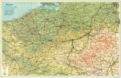 BELGIUM. Country map 1924 old vintage plan chart