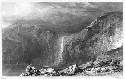 CORNWALL. Waterfall and Stone Quarry, near Boscastle 1831 old antique print