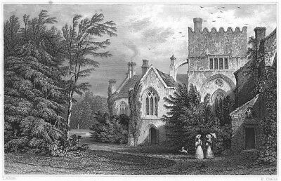 DEVON. Buckland Abbey 1829 old antique vintage print picture