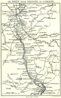 GERMANY. Rhine from Cologne to Coblenz 1910 old antique vintage map plan chart
