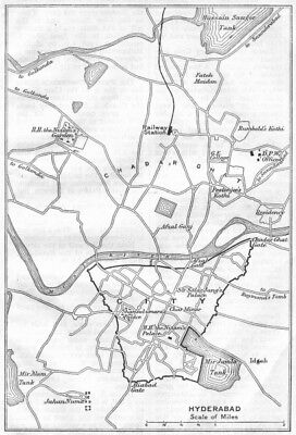 BRITISH INDIA. Hyderabad sketch map. City plan. Andhra Pradesh. 1924 old