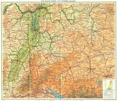 GERMANY. Black Forest & west Bavaria 1931 old vintage map plan chart