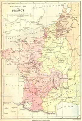 FRANCE. Historical Map of 1870 old antique vintage plan chart