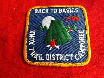 Boy Scouts Knox Trail District 1986 Camporee Vintage Patch Back To Basics