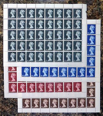 GB 1969 Machin Set of 4 High Values in Complete Sheets of 40 FP9989