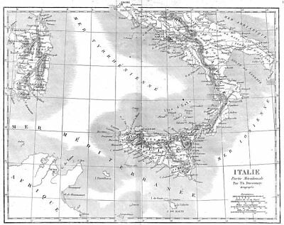 ITALY. Italie Partie Meridionale South 1879 old antique vintage map plan chart