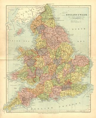 ENGLAND & WALES. showing counties, towns railways. STANFORD 1906 old map