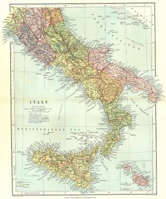 SOUTHERN ITALY. Showing provinces & compartmenti. Inset Malta.STANFORD 1906 map