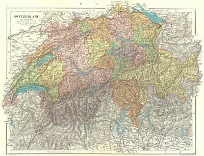 SWITZERLAND. showing railways & cantons.. STANFORD 1906 old antique map chart