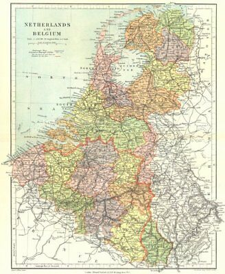 BENELUX. Netherlands, Belgium & Luxembourg showing provinces. STANFORD 1906 map