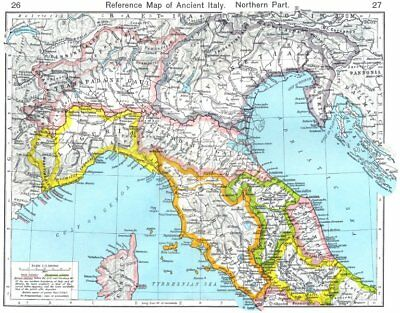 ITALY. Reference Map of Ancient Italy Northern Part 1956 old vintage chart