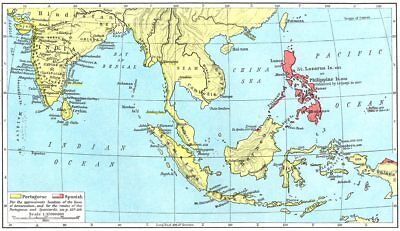 ASIA. Portuguese Colonial Dominions & Malay Archipelago, 1498-1580 1956 map