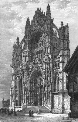 OISE. Beauvais Cathedral c1878 old antique vintage print picture