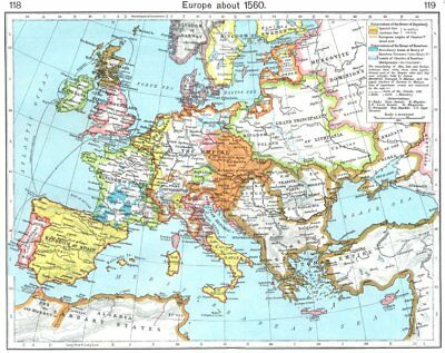 EUROPE. Europe about 1560 1956 old vintage map plan chart