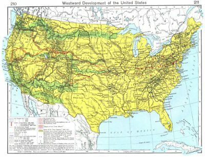 USA. Westward development of the United States 1956 old vintage map plan chart