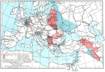 EUROPE. Principal seats of War, 1914-1918 1956 old vintage map plan chart