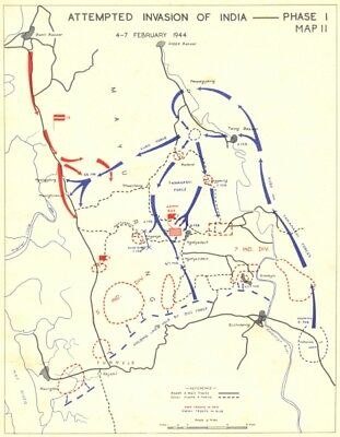 INDIA. Feb & March, 1944. Attempted Invasion of-Phase I 1951 old vintage map