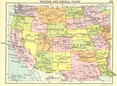 USA. Western and Central States; Small map 1912 old antique plan chart