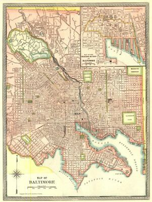 BALTIMORE town/city plan. CBD. Maryland 1907 old antique map chart