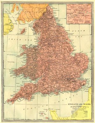 England and Wales. Inset Map of London and Vicinity 1907 old antique chart
