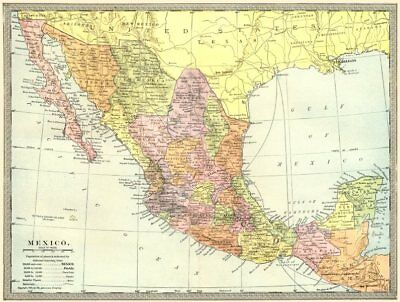 MEXICO showing states 1907 old antique vintage map plan chart