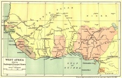 NIGERIA. West Africa showing Railways & Principal Rivers 1936 old vintage map