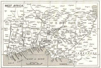 AFRICA. West; - Ghana Colony are SPG Mission Stations- CMS 1922 old map