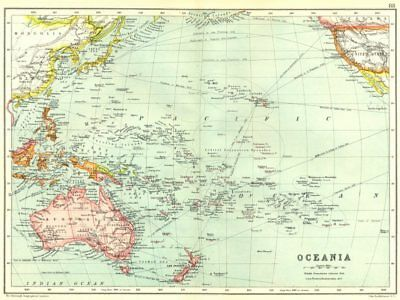 OCEANIA AUSTRALASIA. Pacific Ocean. Ocean steamship routes 1909 old map