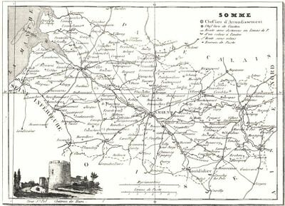 Somme 1878 Old Antique Vintage Map Plan Chart Somme Maps, Atlases & Globes