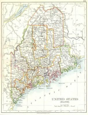 MAINE. State map. United States 1897 old antique vintage plan chart