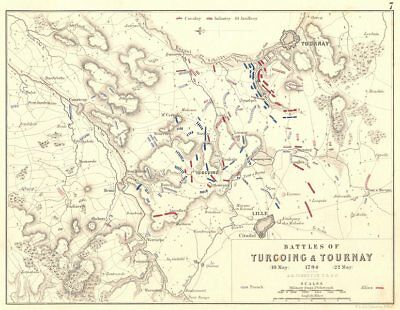 BATTLES OF TURCOING & TOURNAY. 18-22 May 1794. Nord. Lille 1848 old map