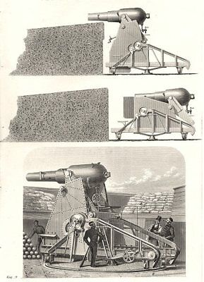 MILITARIA. The Moncrieff Gun Carriage 1800 old antique vintage print picture