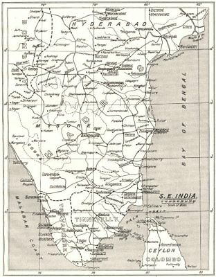 INDIA. South- east; SPG Mission Stations- Other C. of E.  1922 old vintage map