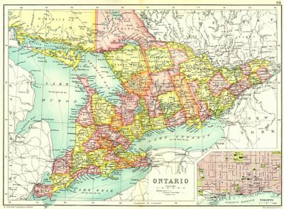 ONTARIO. Showing counties. Inset map of Toronto. Canada. Cassells 1909 old