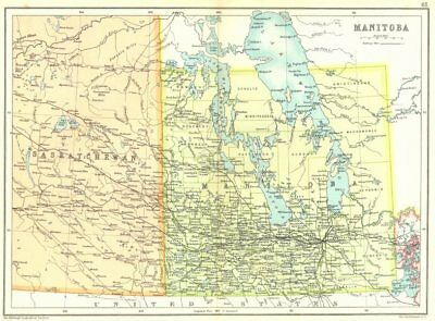 MANITOBA. Showing municipalities. Canada. Cassells 1909 old antique map chart