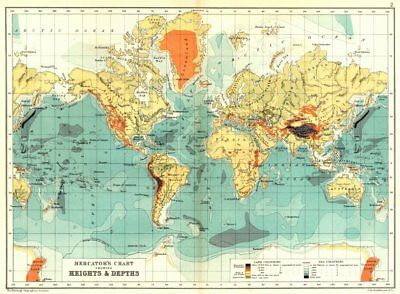 WORLD. Mercator's Chart showing heights & depths 1909 old antique map